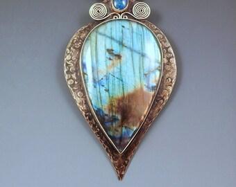 Labradorite and Opal- Stunning Spectrolite- Smokey Bronze- Metal Art Statement Pendant/Necklace