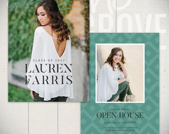 Graduation Card Template - Senior Announcement Card 5x7 - Downtown C