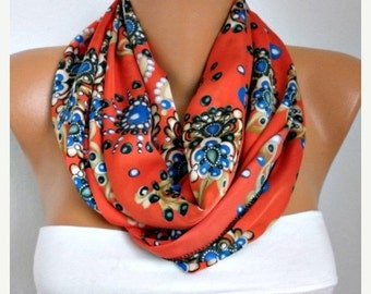 ON SALE --- Floral Printed Infinity Scarf Fall Scarf Cowl Scarf Shawl Circle Scarf Loop Scarf  Gift Ideas For Her Women Fashion Accessories