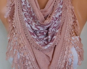 ON SALE --- Dusty Pink Knitted Scarf,Fall Winter Fashion, Shawl,Cowl,Lace, Bridal Scarf,Gift Ideas For Her, Women Fashion Accessories, Best