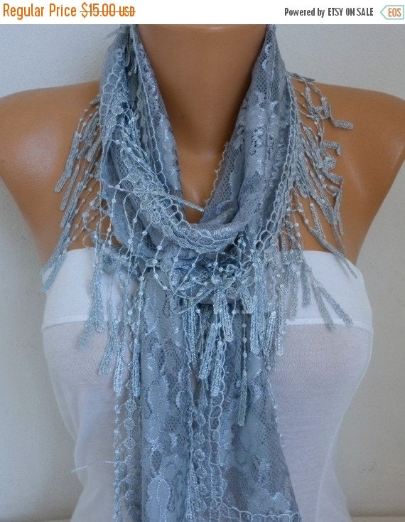 ON SALE --- Silver Gray Lace Scarf, Summer Shawl Scarf, Cowl Scarf, Bridal Accessories, Bridesmaid Gift, Gift Ideas For Her, Women Fashion A