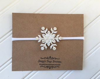 Glitter Snowflake Headband in Gold and White Mix- Winter Headband- Christmas Headband- Winter Photo Props-Baby Headband