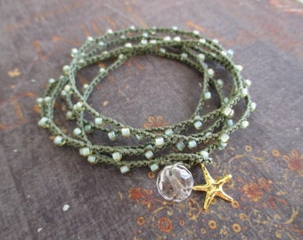 Seafoam olive green crochet wrap bracelet necklace - Malibu Star - gold vermeil starfish crocheted wrap beach boho by slashKnots