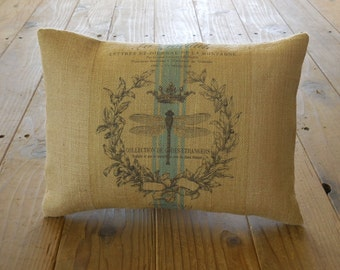 French Dragonfly Burlap Pillow, Rustic French Farmhouse, INSERT INCLUDED