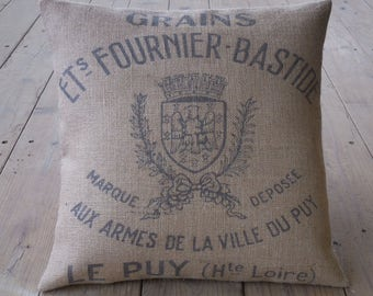 French grain sack style Burlap Pillow, feed sack logo, Rustic Farmhouse, INSERT INCLUDED