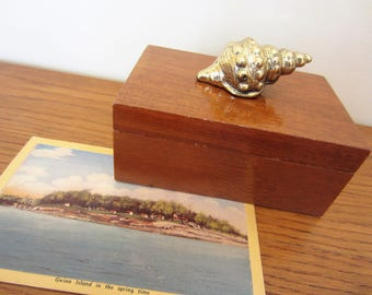 Rectangular wood box with brass shell for small treasures.
