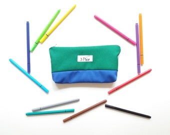 Pencil Case Green + Blue Toiletry Pouch / Zipper Cosmetic Bag / Earth Friendly Makeup bag / Eco Friendly School Supplies Bag / 3 Ptice