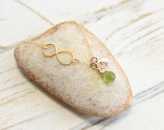 Personalized Gold Infinity Birthstone Necklace  -- You Choose The Stone and The Initial