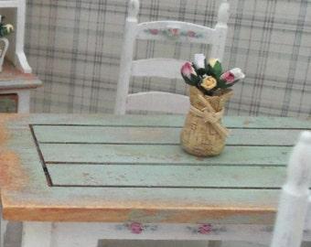 Dollhouse table decoration/centre piece-rustic,cottage,farmhouse,shabby,floral OOAK