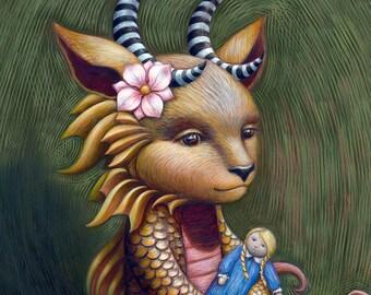 Mermaid Monster Child - nursery fairytale storybook wall art