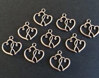 6 x Antiqued Silver Double Heart Charms Silver Tone Linked Heart Pendants 20mm x 19mm Bracelet Making Pendants