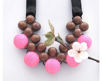 Bib Necklace / Chunky  Necklace / Wooden Beaded Necklace / Bayong Wood Pink Fabric Beads with Ribbon Ties / Wooden Statement Necklace