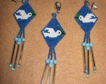 Native Style Dove Earrings...HAND BEADED