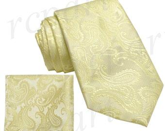 New Micro Fiber Men's Paisley Canary Yellow Self-Tie Neck tie & hankie set, Formal Occasions (I)