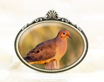 Bronze Dove Brooch - Mourning Dove Jewelry Broach, Nature Jewelry, Bronze Bird Brooch, Dove Photo Jewelry, Bird Broach Pin, Nature Gift