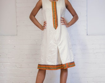 Cotton Twill Mix with Dashiki  Print.  Dress Casual, Office Dress With Dashiki Trim