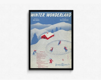 Winter Wonderland Christmas Music Decor • Ice Skating Picture • Ice Blue Color • Winter Season • Holiday Sheet Music • Winter Cottage Music