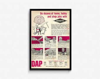 Duratite Products DAP • Glue Putty Cement • Retro Cartoon Ad • Pink and White Colors • Garage Product • Home Improvement Product • Male Gift