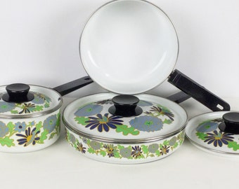 San Ignacio cookware set / Vintage enamelware cookware set / vintage pots and pans set / 7 pc cooking set