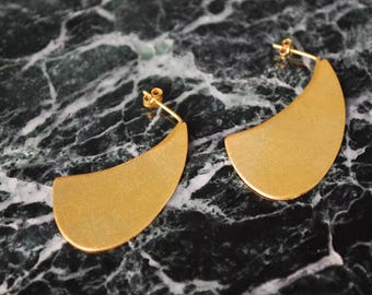 Gold Plated Earrings, Dangle Earrings, Minimalist Earrings, Brass Earrings, Drop Earrings, Statement Earrings