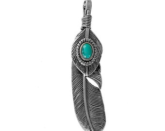 "Large FEATHER Pendant, Faux Turquoise Cabochon, Antiqued Silver Metal, 2.5"" long, chs2671"