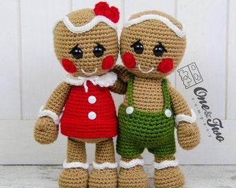Nut and Meg Gingerbread Amigurumi - PDF Crochet Pattern - Instant Download - Amigurumi crochet Cuddy Stuff Plush