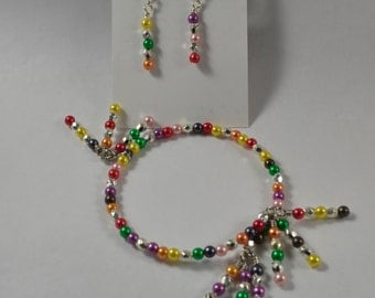 Bracelet & Earring Set:  Festive Party Colors