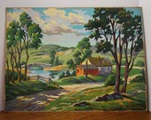 Vintage Paint By Number Summer In The Country 1960's Country Scene Landscape