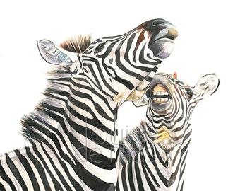 Zebras watercolor painting print, zebra print, african animal watercolor print, safari inspired decor, zebra painting print A4 size  Z8515