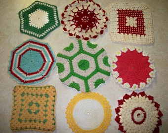 Vintage crocheted hot pads , hot mats, or doilies, nine, various shapes and colors