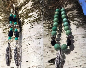 Matching Turquoise And Black Agate Silver Feather Boho Dangle Earrings And Bracelet Set