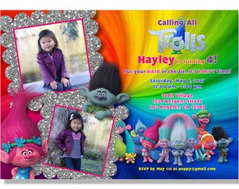 Trolls Party Birthday Invitations - Digital File