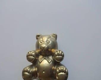 Vintage Brass Teddy Bear 1980s
