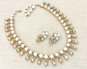 Rhinestone Pearl Necklace Set - Wedding Jewelry Set - Necklace Earrings Set - Rhinestone Demi Parure - Collar Necklace Clip On Earrings Coro