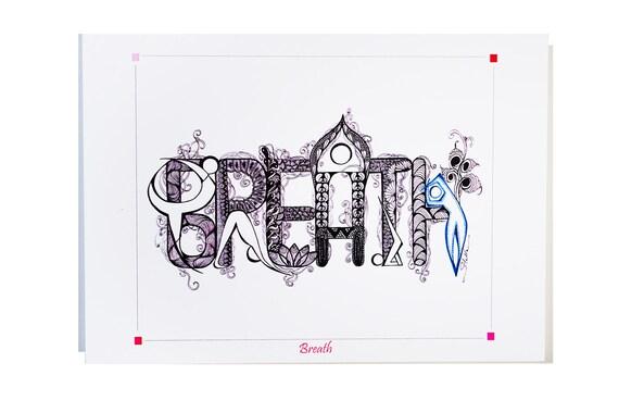 YOGA ART Greeting Card BREATH  - 5x7 from Original Ink Drawing, Home Decor, Yoga Studio Decor