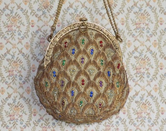 Early 1900's Gold Thread and Rhinestone Evening Purse