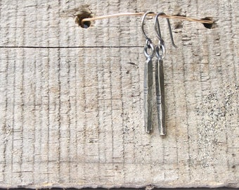 rustic recycled sterling stick earrings