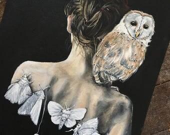 Myth of the Moth Flight ~ Original Painting on Black Canvas ~ Barn Owl Moth Lady Portrait Spirit Animal Gothic Victorian OOAK