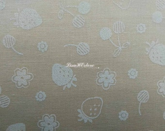 Strawberry and cherry, on ivory, 1/2 yard, pure cotton fabric