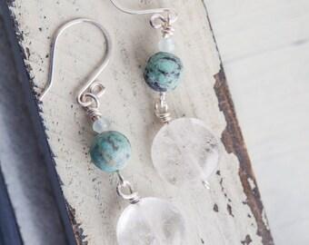 Citrine Jewelry, White Stone Earrings, turquoise, White Earrings, Dangle Earrings,