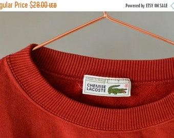 SALE Lacoste Men's Red Sweatshirt Vintage 80's crewneck sweatshirt