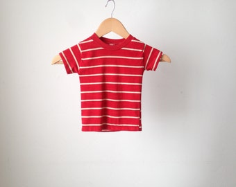 vintage RED & CREAM off-white toddler striped oxford 60s mid century t shirt 2T