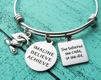 college graduation gift, for graduate bracelet, congrats gift, she believed she could high school graduation gift for her, senior student