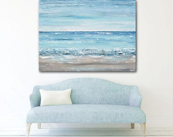 "ORIGINAL Large Art Blue Abstract Painting Beach Wall Art Acrylic Painting Summer Decor TEXTURED Coastal Wall Decor LARGE 48x36"" - Christine"