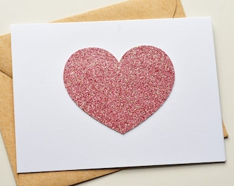 Glitter Heart Note Card Set - Pink // Note Card Set // Valentine's Day Card // Wedding Card