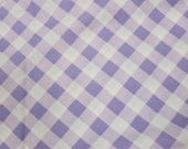 Daisy Kingdom Gingham on Bias Fabric . Purple and White Gingham Material . Out of Print Rare
