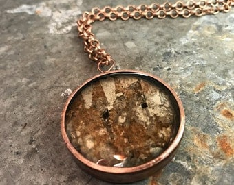 Copper woodland birch bark necklace