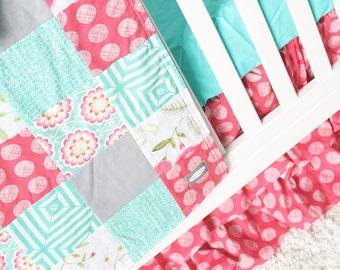 Girl Crib Bedding - Pink and Mint Baby Girl Bedding