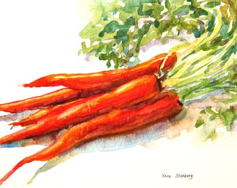 "ON SALE, Carrot Painting, Original Watercolor, ""Organic Carrots"" by Kim Stenberg, Impressionistic Art, Matted, Ready for a 11 x 14"" Frame"