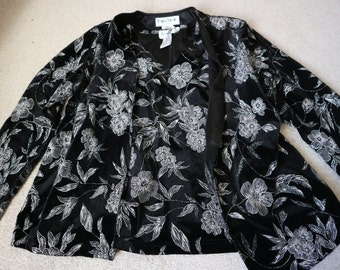 Ronni Nicole 2 piece black velvet and silver floral top and jacket XL